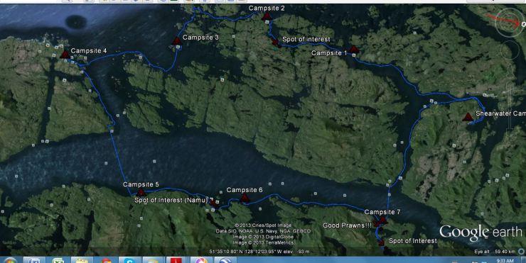 Google image Kayak Route